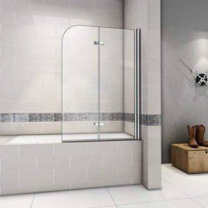 120x140cm Pare baignoire pivotant 180°, porte de baignoire, paroi de baignoire, 6mm verre trempé anticalcaire de la marque AICA image 0 produit