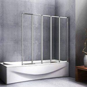 120x140cm paroi de douche, Pare baignoire 5 volets rétractables et pliants, porte de baignoire pivotante 180° de la marque AICA image 0 produit