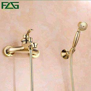 AllureFeng Bathroom Wall pomme de douche à main avec un kit de robinet de douche en laiton doré main set de la marque AllureFeng image 0 produit