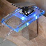 Auralum® Mitigeur Lavabo Robinetterie LED RVB Cascade pour Vasque de Salle de Bain en Laiton Chromé et Verre de la marque AuraLum image 3 produit