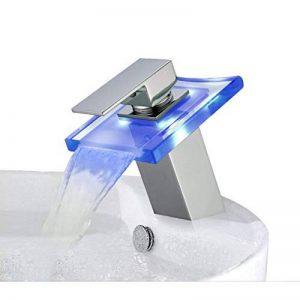 Auralum Robinet de salle de bain cascade avec LED RGB changement de couleurdans le verre du robinet de la marque AuraLum image 0 produit