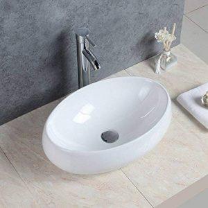 Basong Vasque à Poser En Céramique Moderne Lavabo Lave-Mains Salle de Bain WC Ovale Blanc de la marque Basong image 0 produit