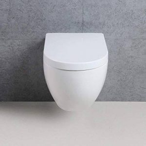 Basong WC Suspendu Cuvette Toilette en Céramique avec Abattant Soft Close Luxueux Blanc 550*370*370mm de la marque Basong image 0 produit