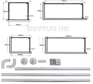 beytug Barre de douche avec 4 positions différentes en U et L Blanc de la marque beytug image 0 produit