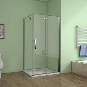 vitrification NANO Porte de douche coulissante 150x195cm,installation en niche 8mm verre tremp/é anticalcaire,
