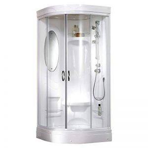 Cabine de douche complète fermée Helgoland, cabine de douche intégrale arrondie, avec miroir, siège de douche et tablettes de rangement, blanc, 90x90 cm, Schulte de la marque Schulte image 0 produit