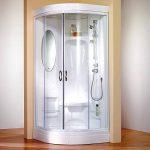 Cabine de douche complète fermée Helgoland, cabine de douche intégrale arrondie, avec miroir, siège de douche et tablettes de rangement, blanc, 90x90 cm, Schulte de la marque Schulte image 1 produit