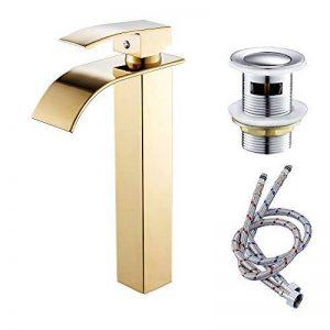 Cascade robinet de lavabo avec bonde de vidage lavabo mitigeurs Morden Chrome de salle de bain robinet chaud et froid, doré, T35.8cm de la marque GreenRibbon image 0 produit