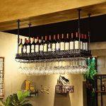 Casier à vin/titulaire de gobelet suspendu Casier à vin suspendu rétro Porte-verre décoratif en fer pour le stockage des métaux (Couleur : NOIR, taille : 80 * 35cm) de la marque Wine racks image 3 produit