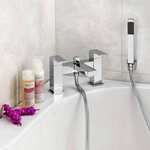 ENKI Mélangeur avec douchette pour baignoire design carré laiton chromé MILAN de la marque ENKI image 0 produit