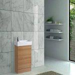 ENKI Placard de Salle de Bain en chêne à Poser au Sol Meuble lavabo en céramique Horizon de la marque ENKI image 2 produit