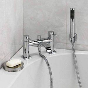 Enki Soho Mitigeur de baignoire/robinet de douche de salle de bain Chromé/laiton Design moderne et incurvé Montage sur le rebord de la marque ENKI image 0 produit
