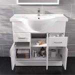 Ensemble de salle de bain en céramique, meuble lavabo et cuvette de toilettes monobloc de la marque iBathUK image 1 produit