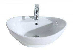 Eridanus Série Lottie, Vasque à Poser Bol Ovale Trop-Plein Lavabo Salle de Bain Lave-Mains Évier en Céramique L59*L39*H21cm de la marque ERIDANUS image 0 produit