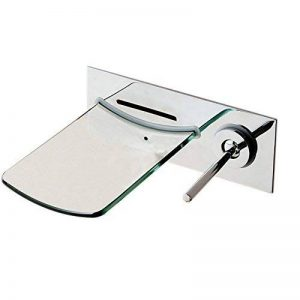 Fixation murale de salle de bain Robinets de bain cascade Bec verseur en verre Mitigeur Robinet de baignoire Chromé de la marque ASDFG image 0 produit