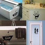 Foonii 3 PCS Autocollant Mural, Toilette/salle de bain/Baignoire Porte Autocollant Stickers Muraux, Créatif Imperméable Amovible Décorations Intérieure Stickers (noir) de la marque Foonii image 4 produit