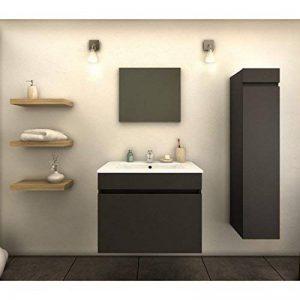 Générique Meuble de Salle de Bain Simple Vasque 60 cm + 1 Colonne Gris Mat Laura - L 60 x l 46 x H 50 de la marque Générique image 0 produit
