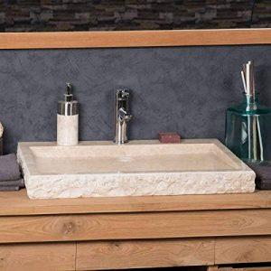 Grande Vasque 70cm à poser rectangle en pierre marbre COSY crème de la marque wanda collection image 0 produit