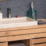 Grande Vasque 70cm à poser rectangle en pierre marbre COSY crème de la marque wanda collection image 1 produit