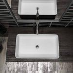 Grande vasque rectangulaire en céramique Blanc mat - Longueur x Largeur x Hauteur : 61,5 x 41 x 11,5 cm de la marque TOTS image 1 produit