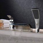 Hanpure robinet mitigeur de baignoire, baignoire robinet cascade avec pommeau de douche Poignée simple 3holes contemporain Finition chromée de salle de bain baignoire robinet de lavabo de la marque HANPURE image 2 produit
