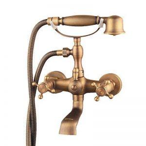 Hiendure® Montage mural deux poignées robinet de baignoire avec douche à main Finition laiton antique de la marque Hiendure image 0 produit
