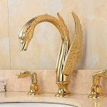 Hjkdgh robinet séparés type deux poignées décoré Swan Forme de salle de bain Lavabo Robinet Doré de la marque HJKDGH image 2 produit