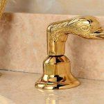 Hjkdgh robinet séparés type deux poignées décoré Swan Forme de salle de bain Lavabo Robinet Doré de la marque HJKDGH image 4 produit