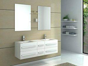 interougehome – Meuble de Salle de Bain en Bois avec Double Vasques Coloris Blanc Brillant de la marque interougehome image 0 produit