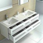 interougehome – Meuble de Salle de Bain en Bois avec Double Vasques Coloris Blanc Brillant de la marque interougehome image 1 produit
