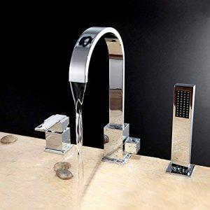 Jiuzhuo 3trous robinet mitigeur de baignoire avec douche à main en finition chrome de la marque JiuZhuo image 0 produit