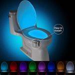 KINGSO Lampe de Toilette Veilleuse LED pour WC/ Cuvette Siège/ Salle de Bain/ Cabinet/ Lavabo/ Seau d'aisances, Capteur Détecteur de Mouvement Éclairage Spéciale à 8 Changement de Couleurs de la marque KINGSO image 1 produit