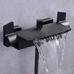 Kunmai support mural à 2poignées à cascade Chrome/noir robinet mitigeur de baignoire avec douche à main de la marque KunMai image 1 produit