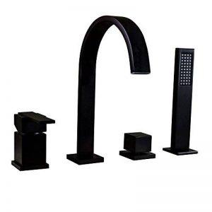 Kunmail Cascade Mélangeur 4trous robinet mitigeur de baignoire avec douche à main en solide Noir de la marque KunMai image 0 produit