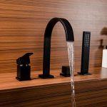 Kunmail Cascade Mélangeur 4trous robinet mitigeur de baignoire avec douche à main en solide Noir de la marque KunMai image 1 produit