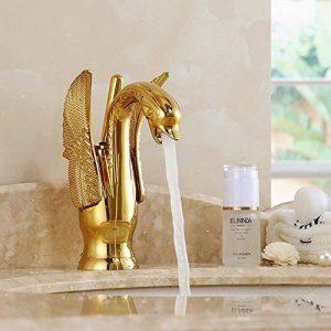 LHbox Lavabo Vasque Mitigeur Robinet De Luxe à l'échelle du Bassin sculpté cuivre doré Swan de lavabo de la marque LHbox Tap image 0 produit