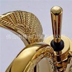 LHbox Lavabo Vasque Mitigeur Robinet De Luxe à l'échelle du Bassin sculpté cuivre doré Swan de lavabo de la marque LHbox Tap image 1 produit