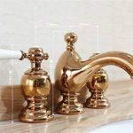 LHbox Lavabo Vasque Mitigeur Robinet Trois Trous européenne mobilier de robinets en Laiton Double de la Table Ancienne avec lavabo Eau Chaude et Froide de robinets d'or, poignée Cross de la marque LHbox Tap image 1 produit