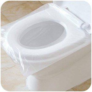Lot de 50 Couvre-sièges pour abattant Wc antibactérien étanche jetable Portable de voyage Housse Wc pour Femme enceinte, emballage individuel de la marque Lucky Rao image 0 produit