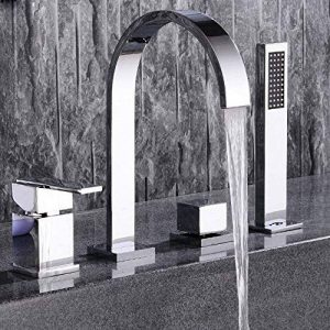 MangeooChrome moderne salle de bains 4 trous Mitigeur pour baignoire romaine avec douchette 2 poignées de la marque Mangeoo image 0 produit