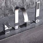 MangeooChrome moderne salle de bains 4 trous Mitigeur pour baignoire romaine avec douchette 2 poignées de la marque Mangeoo image 3 produit