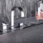 MangeooChrome moderne salle de bains 4 trous Mitigeur pour baignoire romaine avec douchette 2 poignées de la marque Mangeoo image 4 produit