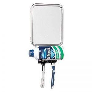 mDesign Miroir de rasage en métal - miroir cosmétique inoxydable avec ventouses pour la douche - miroir de maquillage avec support pour mousse à raser et 2 crochets pour rasoirs - argent de la marque MetroDecor image 0 produit
