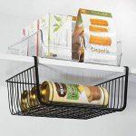 mDesign panier suspendu en métal inoxydable (lot de 2) – grande boite de rangement pour cuisine et garde-manger – panier grillage robuste pour denrées alimentaires et ustensiles de cuisine – noir de la marque MetroDecor image 1 produit