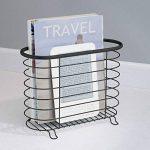 mDesign porte journaux – porte magazine – porte revue metal – pour la salle de bains, le bureau et l'entrée – en métal – noir mat de la marque MetroDecor image 1 produit