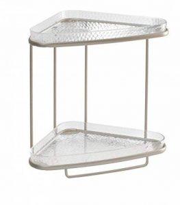 mDesign étagère d'angle pour salle de bain – meuble de rangement élégant pour produits cosmétiques & accessoires de bain – avec deux compartiments de rangement – couleur: argent de la marque MetroDecor image 0 produit