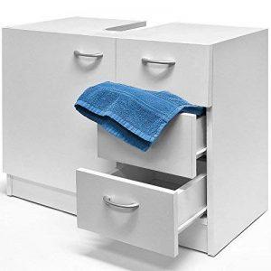Meuble de rangement sous évier lavabo Blanc Salle de bain 3 Tiroirs de la marque Deuba image 0 produit
