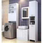 Meuble Étagère de rangement pour salle de bain toilettes Armoire Blanc avec portes 195x63x20cm de la marque Deuba image 2 produit