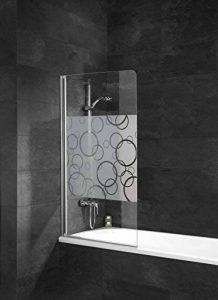 Pare baignoire rabattable Schulte, paroi de baignoire pliante 80 x 140 cm, écran de baignoire 1 volet pivotant, pare-douche verre décor cercles, profilé aspect chromé de la marque Schulte image 0 produit