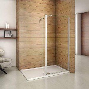 Paroi de douche 90x200cm avec un volet retour en 30cm paroi de douche à l'italienne avec une barre de fixation extensible de la marque AICA image 0 produit